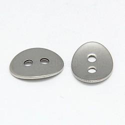 Boutons en acier inoxydable 304, 2-trou, ovale, couleur inoxydable, 14x11x1mm, Trou: 2mm(STAS-I015-01)