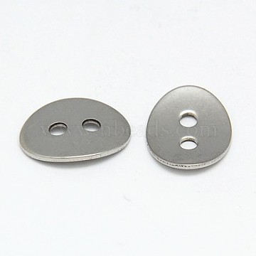 304 Stainless Steel Buttons, 2-Hole, Oval, Stainless Steel Color, 14x11x1mm, Hole: 2mm(STAS-I015-01)