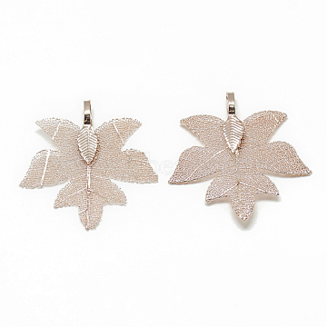 Iron Pendants, Electroplate Natural Leaf, Maple Leaf, Rose Gold Plated, 36~38x34~35x1mm, Hole: 3x5.5mm(X-IFIN-T006-07RG)