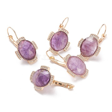 Natural Amethyst Leverback Earrings, with Golden Plated Brass Findings and Clear Cubic Zirconia, Faceted, Oval, 33mm, Pin: 0.9mm, Pendant: 20x17.5x5.5mm(EJEW-I247-02B)