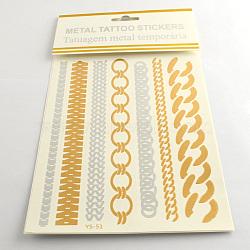 Art corporel fraîche mélangée chaîne amovible façonne faux tatouages temporaires métalliques autocollants en papier, couleur mixte, 183x7~25 mm; 12 pcs / sac(AJEW-Q081-22)