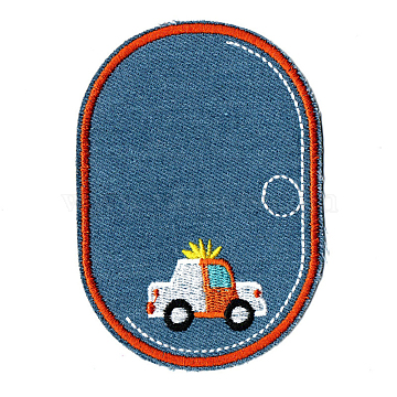 Computerized Embroidery Cloth Iron on/Sew on Patches, Costume Accessories, Oval with Car, Steel Blue, 11.2x7.9cm(DIY-F034-A02)