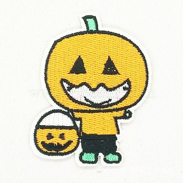 Computerized Embroidery Cloth Iron on/Sew on Patches, Costume Accessories, Halloween Pumpkin Jack-O'-Lantern, Gold, 6.7x5.5cm(DIY-F034-B04)