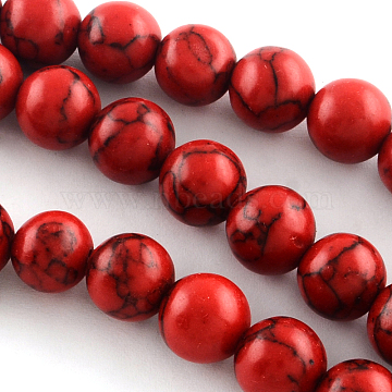 Synthetical Turquoise Gemstone Round Bead Strands, Dyed, Red, 8mm, Hole: 1.5mm, about 47~48pcs/strand, 15.7 inches(X-TURQ-R035-8mm-04)