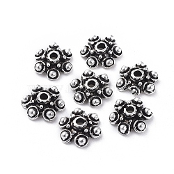 Tibetan Silver Bead Caps, Lead Free & Nickel Free , Flower, Antique Silver, about 10mm in diameter, Hole: 1.2mm(X-AA180-NF)