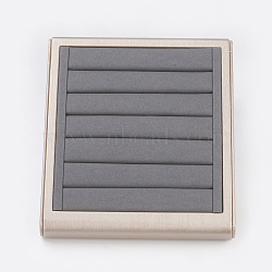 PU Leather Jewelry Ring Displays, with Board, Rectangle, Gray, 25x22x5cm(RDIS-G006-02B)