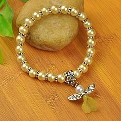 Bracelets d'ange belle avec robe de mariée pour les enfants, bracelets carnaval extensibles, avec verre perles de nacre et de perles de style tibétain, jaune de champagne, 45mm(BJEW-JB00727-12)