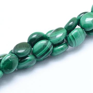 8mm Oval Malachite Beads