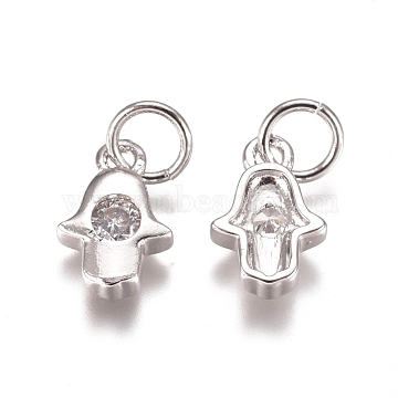 Religion Brass Charms, with Cubic Zirconia and Jump Rings, Hamsa Hand/Hand of Fatima/Hand of Miriam, Clear, Platinum, 10x6.5x2mm, Hole: 3mm(X-ZIRC-I038-37P)