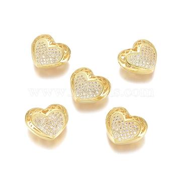 micro-pavé en laiton perles en filigrane de zircone cubique transparente, creux, plaqué longue durée, cœur, effacer, or, 13x14.5x6 mm, trou: 1.2 mm(ZIRC-D119-01G)