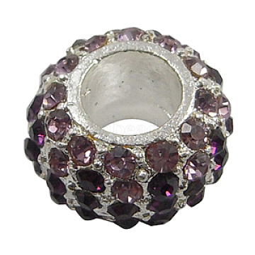 Glass Rhinestone European Beads, Large Hole Beads, Alloy, No Metal Core, Lead Free and Cadmium Free, Rondelle, Platinum, Light Purple And Purple, about 14.5mm in diameter, 9mm thick, hole: 6mm(X-BSAPH007-2)