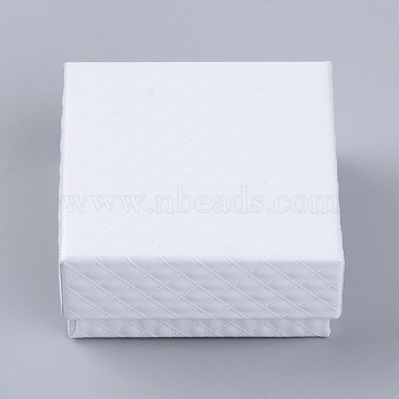 Cardboard Jewelry Set Boxes, with Sponge Inside, Square, White, 7.5x7.5x3.5cm(CBOX-Q035-27A)