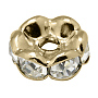 5mm Rondelle Brass+Rhinestone Spacer Beads(X-RB-A014-L5mm-01LG-NF)