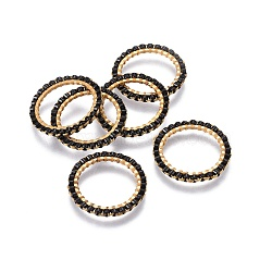 MIYUKI&reg & TOHO&reg Handmade Japanese Seed Beads, with Golden Plated 304 Stainless Steel Link Rings, Loom Pattern, Ring/Circle, Black, 18~19x1.7mm, Inner Diameter: 14mm(SEED-A028A-M-02G)