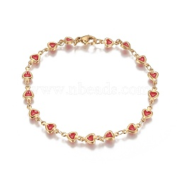 Vacuum Plating 304 Stainless Steel Link Bracelets, with Enamel and Lobster Claw Clasps, Heart, Golden, Red, 8-1/8 inches(20.7cm)(BJEW-I274-36B)