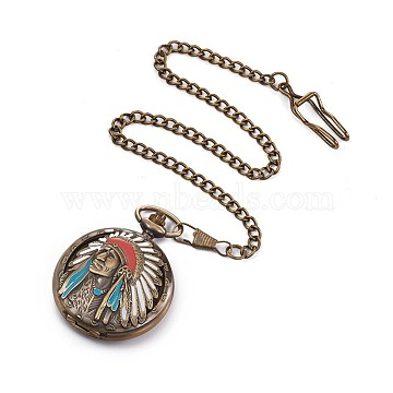 Alloy Enamel Quartz Pocket Watches, with Iron Chains, Flat Round with Indians, Antique Bronze, 16.5 inches(42cm)(WACH-L044-07AB)