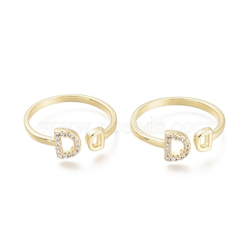 Brass Micro Pave Clear Cubic Zirconia Cuff Rings, Open Rings, Letter D, Real 18K Gold Plated, Size 7, Inner Diameter: 17.5mm(RJEW-F103-07-G)
