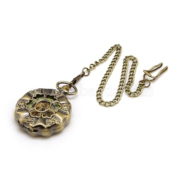 Steampunk Jewelry Hollow Alloy Flat Round Carved Flower Pendant Mechanical Pocket Watches, with Iron Twisted Chains, Antique Bronze, 435mm(WACH-M035-08AB)
