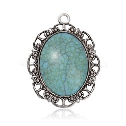 Plaqué argent antique résine d'alliage ovale gros pendentifs, bleu ciel, 61x45x8.5mm, Trou: 4mm(PALLOY-J524-D01)