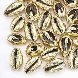 Perles de coquillage cauri naturelles plaquées uv, pas de trous / non percés, or, 13~16x8~11x5~6mm(X-SHEL-S266-06A)