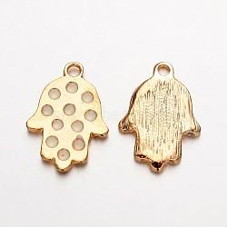 Main en alliage plaqué or léger hamsa main / main de fatima / main de miriam pendentifs pour les bijoux de Bouddha, blanc, 23x16x2mm, Trou: 2mm(ENAM-J542-05KCG)