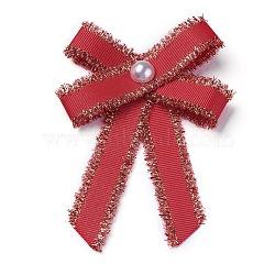 Broche en polyester, avec des perles de verre et du fer, bowknot, rouge, 95~100x67~72mm(JEWB-I011-01C)