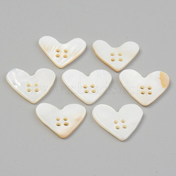 Natural 4-Hole Freshwater Shell Buttons, Heart, Seashell Color, 14~16x17~18x2mm, Hole: 1.4mm(BUTT-T011-02)