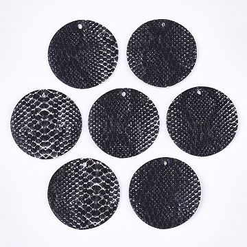 PU Leather Pendants, Flat Round with Snakeskin Pattern, Black, 40x1.5mm, Hole: 2mm(X-FIND-S300-53A)