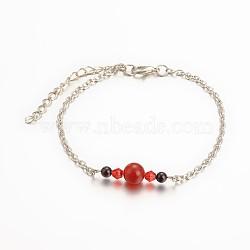bracelets de cheville en agate rouge naturelle, de billes de verre, chaînes de fer et pinces de homard en alliage de zinc, platine, 220 mm(AJEW-AN00050-05)