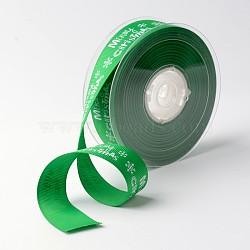 """Joyeux Noël avec ruban gros-grain de polyester de flocon de neige pour noël, verte, 1"""" (25 mm); environ 100yards / rouleau (91.44m / rouleau)(SRIB-K002-25mm-G02)"""
