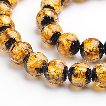 Handmade Silver Foil Glass Round Beads, Goldenrod, 8mm, Hole: 1mm(X-FOIL-I006-8mm-01)