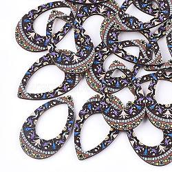 pendentifs en tilleul imprimé, déposer, coloré, 49.5x29.5x3 mm, trou: 1.5 mm(X-WOOD-S045-002B)