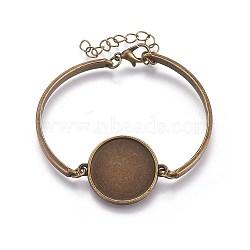 изготовление браслетов из сплава, с установкой плоских круглых кабошонов, античная бронза, 2 (5~5.1 см); тары: 20 мм