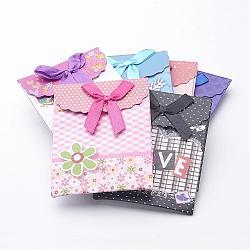 Petits sacs à provisions en papier, rectangle avec bowknot, couleur mixte, 10.5x7.5 cm(CARB-G001-M)