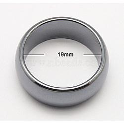 Hématite synthétique magnétique anneaux large bande, taille 9, grises , taille: environ 24mm de diamètre, épaisseur de 10mm, diamètre intérieur: 19 mm(X-RJEW-Q065-1)
