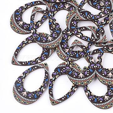 Printed Basswood Pendants, teardrop, Colorful, 49.5x29.5x3mm, Hole: 1.5mm(X-WOOD-S045-002B)