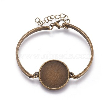 Alloy Bracelet Making, with Flat Round Cabochons Setting, Antique Bronze, 2 inches(5~5.1cm), Tray: 20mm(X-MAK-WH0005-01AB)