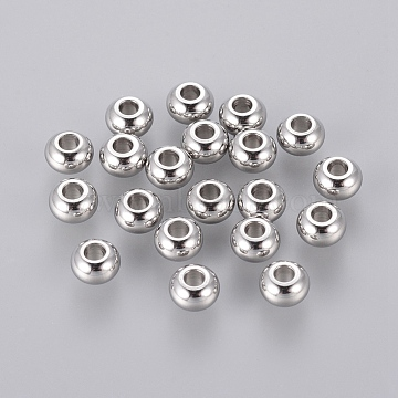 Rondelle 304 Stainless Steel Beads, Stainless Steel Color, 5x3mm, Hole: 2mm(X-STAS-S028-15)