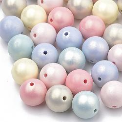 Perles acryliques de style peint par pulvérisation, caoutchouté, rond, couleur mixte, 8mm, Trou: 1mm(X-MACR-T010-8mm)