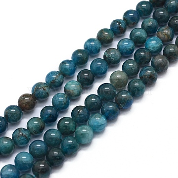 Natural Apatite Beads Strands, Round, 6mm, Hole: 1mm; about 64pcs/strand, 15.7inches(40cm)(X-G-F591-01-6mm)