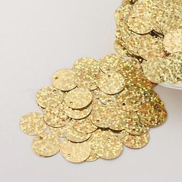 Ornament Accessories Plastic Paillette/Sequins Charms, Flat Round, Gold, 12~13x0.1mm, Hole: 1.4mm(X-PVC-E001-09-LS01)