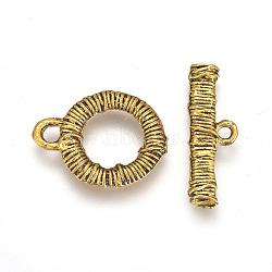 Fermoirs à bascule en alliage de style tibétain, Rectangle et tour plat, Or antique, 20x16x2.5mm, trou: 2.5x3 mm; 23.5x8x2.5 mm, trou: 1.8mmm; Diamètre intérieur 9mm(PALLOY-E500-01AG)