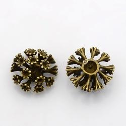 Support de strass en laiton,  diy accessoires strass , sans plomb et sans nickel, bronze antique, taille:  Largeur environ 19mm, Longueur 19mm, épaisseur de 10mm, Trou: 2mm(KK-N207-AB-FF)