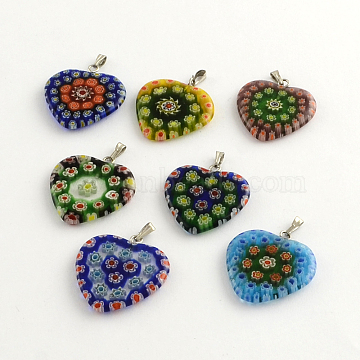 Handmade Millefiori Glass Pendants, with Platinum Plated Iron Findings, Heart, Mixed Color, 27x24x3mm, Hole: 5x2mm(LK-R005-03)