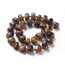 naturelles oeil de tigre brins de perles, facettes, nuggets, 13~17x7~11 mm, trou: 1.2 mm; environ 28~31 perle / brin, 15.15 (38.5 cm)(G-P434-02)