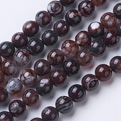 Natural Agate Beads Strands, Dyed & Heated, Grade A, Round, Coffee, 10mm, Hole: 1.2mm; about 47pcs/strand, 14.9''(38cm)
