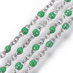 Chaînes de câbles en 304 acier inoxydable, avec l'émail, soudé, couleur inoxydable, verte, 1~2mm(CHS-G005-A-03P)