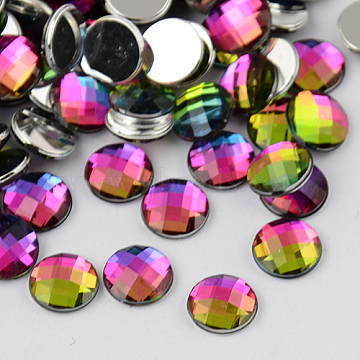 Taiwan Acrylic Rhinestone Cabochons, Flat Back and Faceted, Half Round/Dome, Colorful, 10x3mm(X-ACRT-M005-10mm-13)