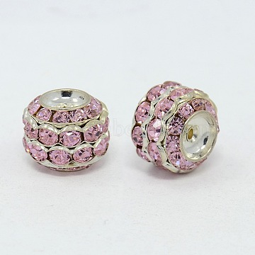 Brass Rhinestone Beads, Grade A, Rondelle, Silver Color Plated, Pink, Size: about 17mm in diameter, 14mm thick, hole: 1.5mm(RB-H044-3)