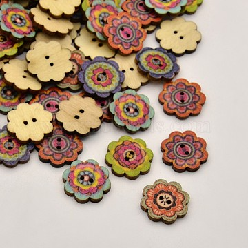 30L(19mm) Mixed Color Flower Wood 2-Hole Button